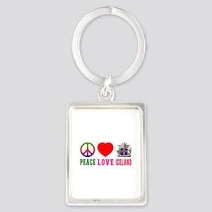 Peace Love Iceland Portrait Keychain
