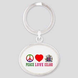 Peace Love Iceland Oval Keychain