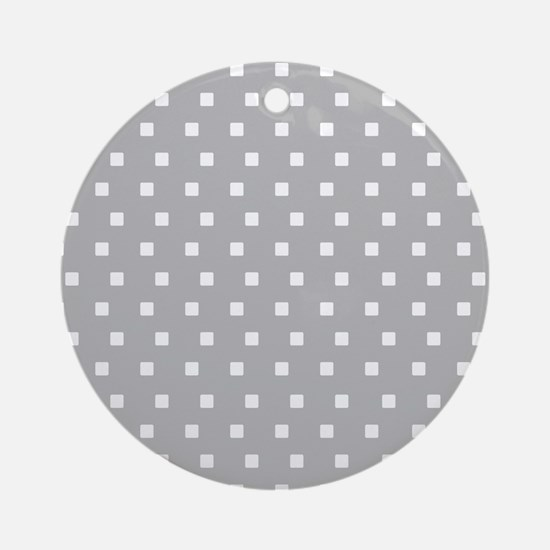 Grey and White Squares Ornament (Round)