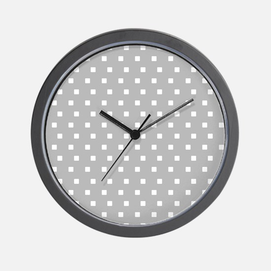 Grey and White Squares Wall Clock