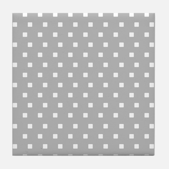 Grey and White Squares Tile Coaster