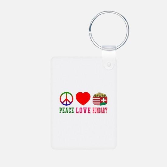 Peace Love Hungary Aluminum Photo Keychain