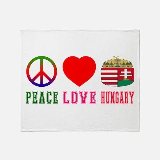 Peace Love Hungary Throw Blanket