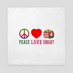 Peace Love Hungary Queen Duvet