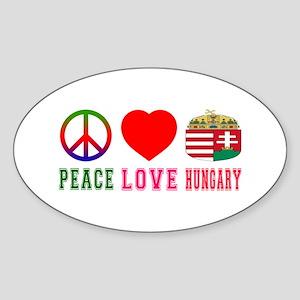Peace Love Hungary Sticker (Oval)