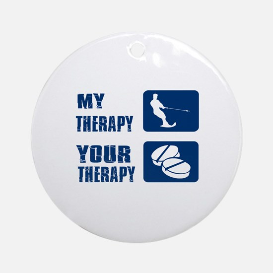 water ski is my Therapy Ornament (Round)