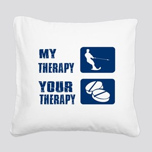 water ski is my Therapy Square Canvas Pillow