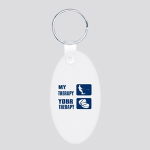 water ski is my Therapy Aluminum Oval Keychain