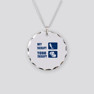 water ski is my Therapy Necklace Circle Charm