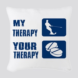 water ski is my Therapy Woven Throw Pillow