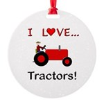 I Love Red Tractors Round Ornament