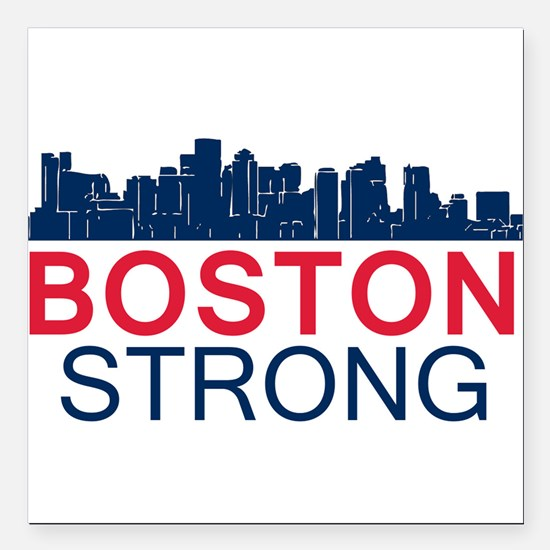 """Boston Strong - Skyline Square Car Magnet 3"""" x 3"""""""