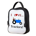 I Love Blue Tractors Neoprene Lunch Bag