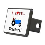 I Love Blue Tractors Rectangular Hitch Cover