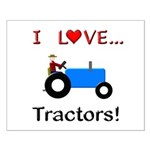 I Love Blue Tractors Small Poster