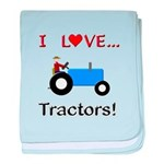 I Love Blue Tractors baby blanket
