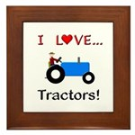 I Love Blue Tractors Framed Tile