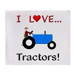 I Love Blue Tractors Throw Blanket