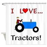 I Love Blue Tractors Shower Curtain