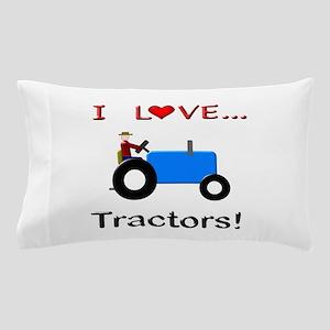 I Love Blue Tractors Pillow Case