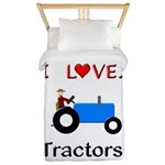 I Love Blue Tractors Twin Duvet