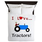 I Love Blue Tractors Queen Duvet