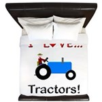 I Love Blue Tractors King Duvet
