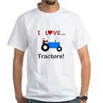 I Love Blue Tractors White T-Shirt