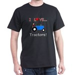 I Love Blue Tractors Dark T-Shirt