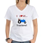 I Love Blue Tractors Women's V-Neck T-Shirt