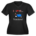 I Love Blue Tractors Women's Plus Size V-Neck Dark