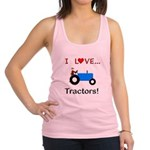 I Love Blue Tractors Racerback Tank Top