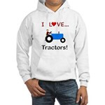 I Love Blue Tractors Hooded Sweatshirt