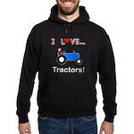 I Love Blue Tractors Hoodie (dark)