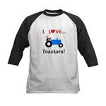 I Love Blue Tractors Kids Baseball Jersey