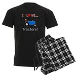 I Love Blue Tractors Men's Dark Pajamas