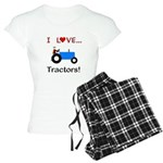 I Love Blue Tractors Women's Light Pajamas