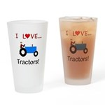 I Love Blue Tractors Drinking Glass