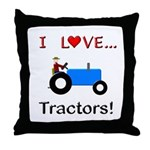 I Love Blue Tractors Throw Pillow
