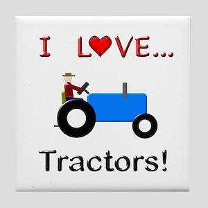 I Love Blue Tractors Tile Coaster
