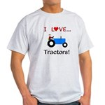 I Love Blue Tractors Light T-Shirt