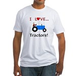 I Love Blue Tractors Fitted T-Shirt