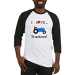 I Love Blue Tractors Baseball Jersey