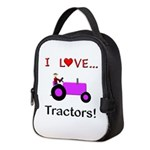 I Love Purple Tractors Neoprene Lunch Bag