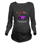 I Love Purple Tractors Long Sleeve Maternity T-Shi