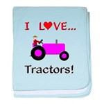 I Love Purple Tractors baby blanket