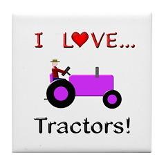 I Love Purple Tractors Tile Coaster