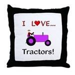 I Love Purple Tractors Throw Pillow