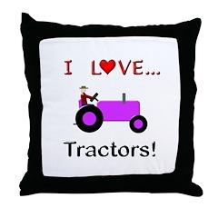 I Love Purple Tractors Throw Pillow
