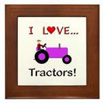I Love Purple Tractors Framed Tile